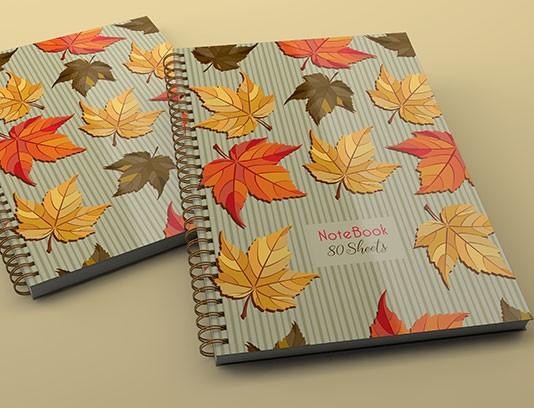 طرح لایه باز جلد دفتر برگ های پاییزی