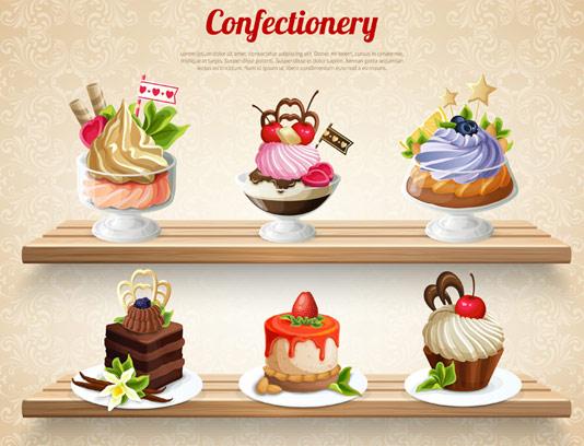 وکتور کیک و شیرینی قنادی