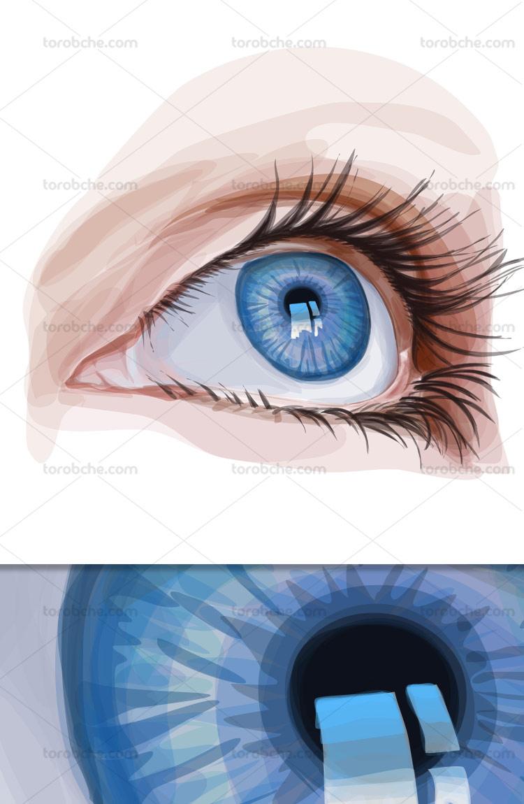 وکتور چشم به صورت نقاشی