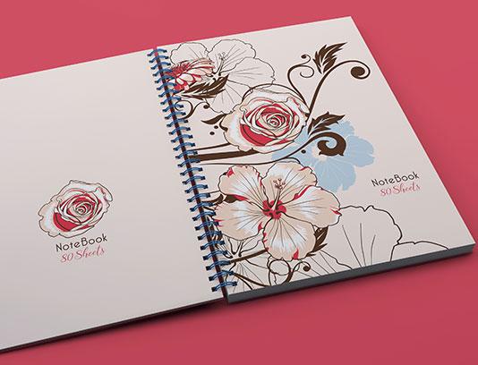 طرح لایه باز جلد دفتر گل و بته دار