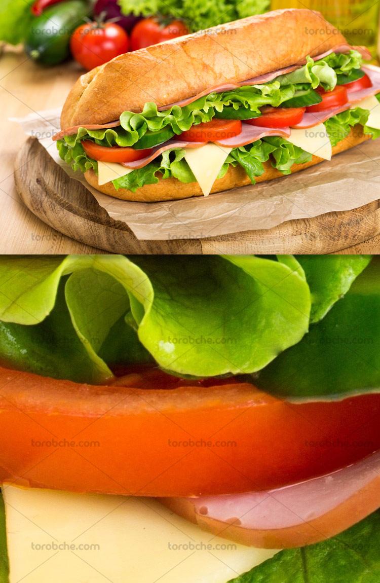 عکس با کیفیت ساندویچ ژامبون با کاهو