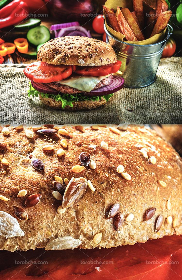 عکس ساندویچ همبرگر با نان مغزدار