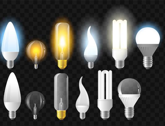 وکتور انواع لامپ های روشن و خاموش