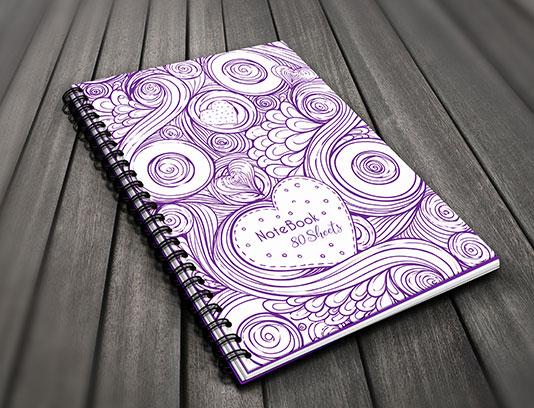 طرح لایه باز جلد دفتر قلب دار انتزاعی