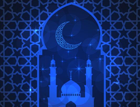 وکتور بکگراند ماه رمضان آبی