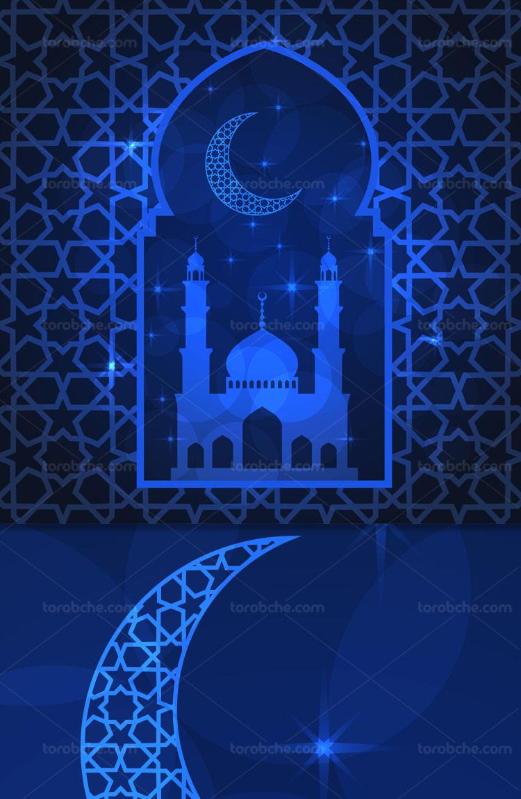وکتور بکگراند ماه رمضان آبی رنگ