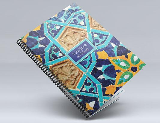 طرح لایه باز جلد دفتر طرح کاشی اسلامی