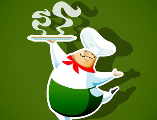 وکتور سرآشپز و لوگوی رستوران