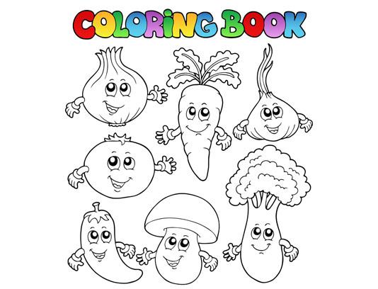 وکتور سبزیجات برای رنگ آمیزی کودک