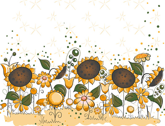 وکتور گل های آفتابگردان فانتزی