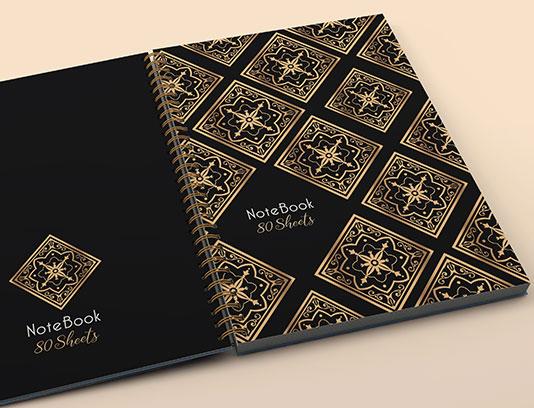 طرح لایه باز جلد دفتر نقوش طلایی