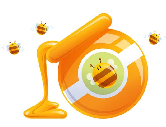 وکتور ظرف عسل و زنبور