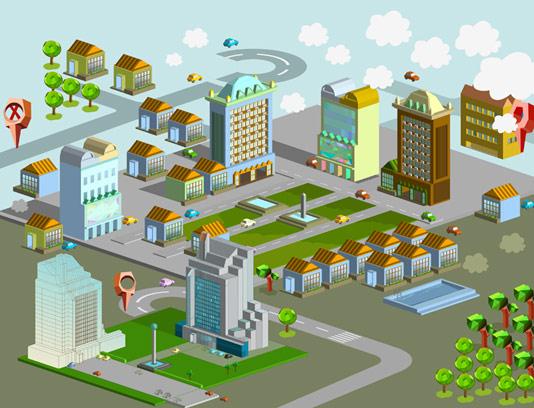 وکتور ایزومتریک فضای داخلی شهر