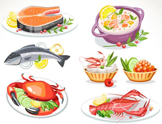 وکتور غذاهای دریایی با کیفیت