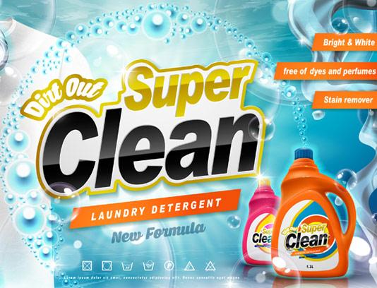 وکتور تبلیغاتی مایع شستشوی لباس سفید