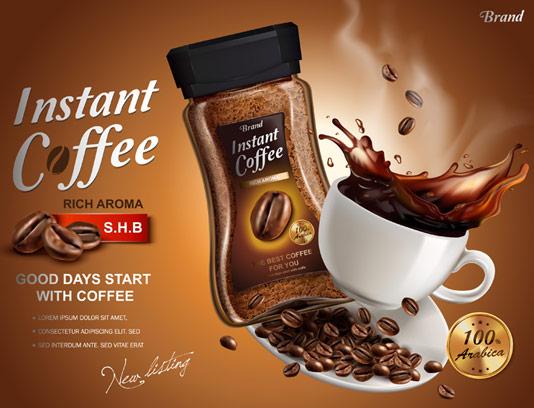 وکتور طرح تبلیغاتی قهوه