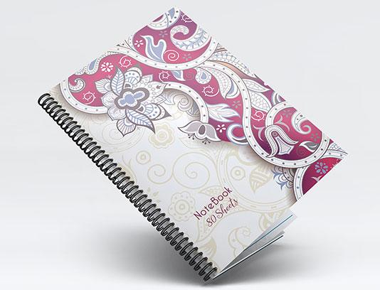 طرح جلد دفتر گل و بته لایه باز
