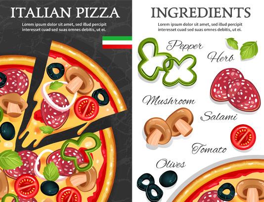 وکتور پیتزای ایتالیایی و مواد اولیه