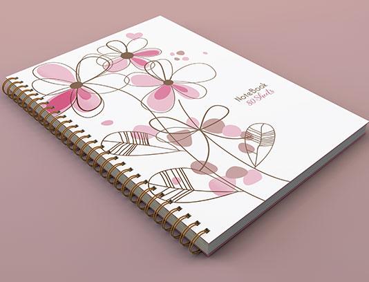 جلد دفتر گلدار صورتی لایه باز