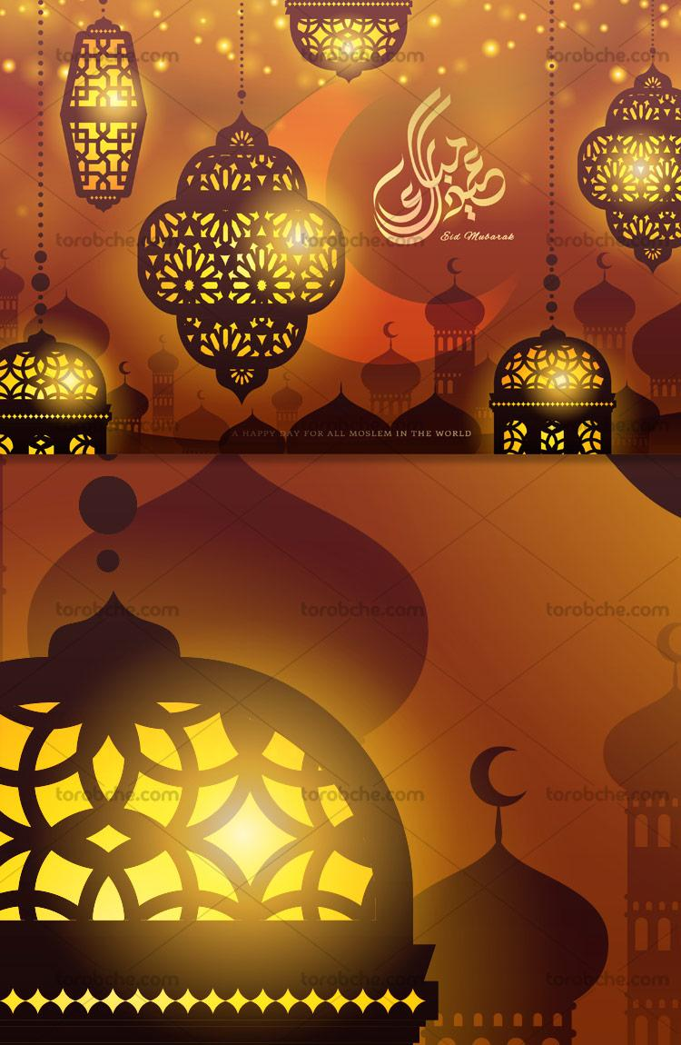 پس زمینه ماه مبارک رمضان با المان های فانوس