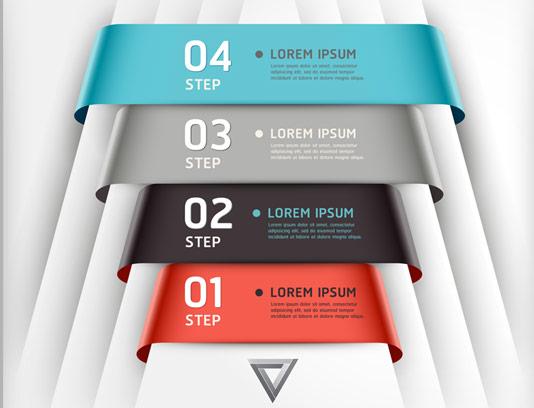وکتور المان اینفوگرافیک 4 مرحله ای