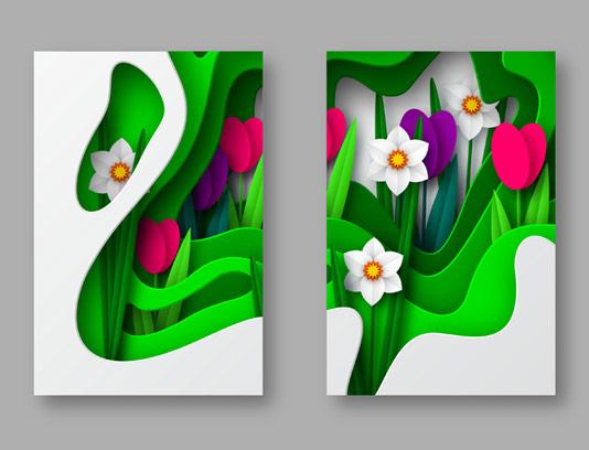 وکتور بکگراند گل های انتزاعی