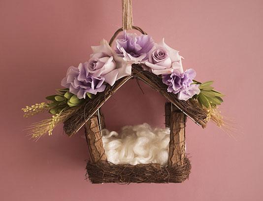 بک دراپ عکاسی نوزاد خانه چوبی