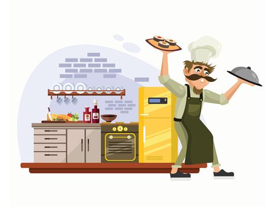 وکتور سرآشپز و آشپرخانه