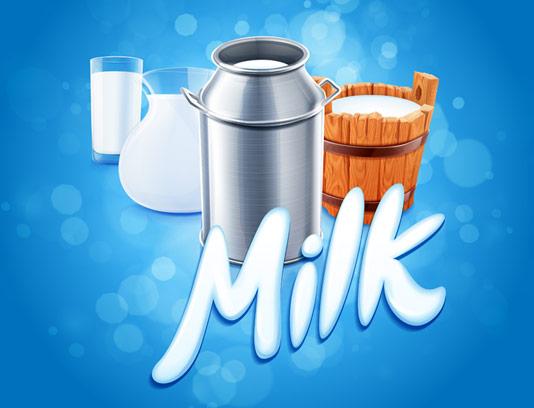 وکتور شیر تازه در ظرف
