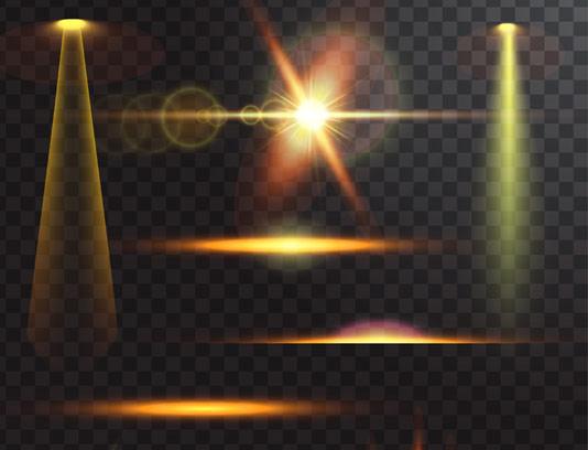 وکتور افکت نورهای طلایی
