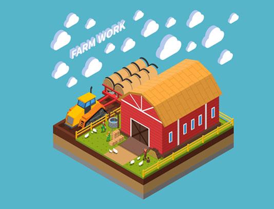 وکتور ایزومتریک مزرعه و کشاورزی