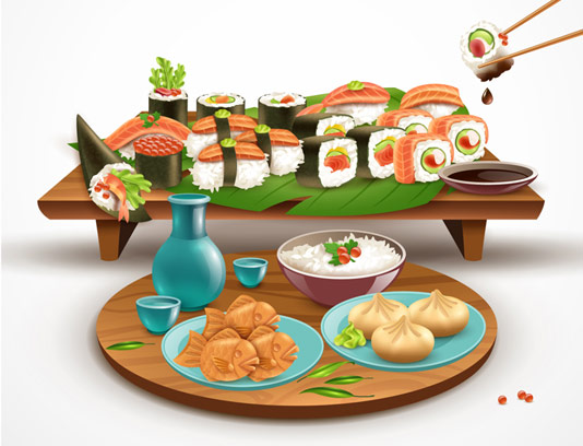 وکتور پس زمینه سوشی ژاپنی