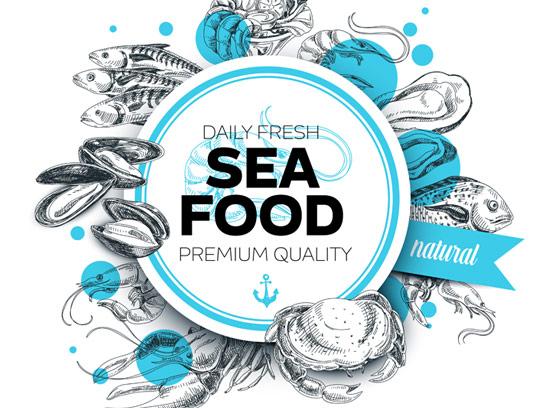 لوگوی غذاهای دریایی به صورت وکتور