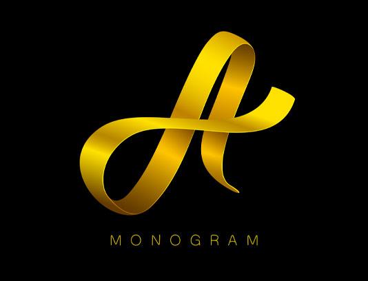 وکتور لوگوی حرف A طلایی