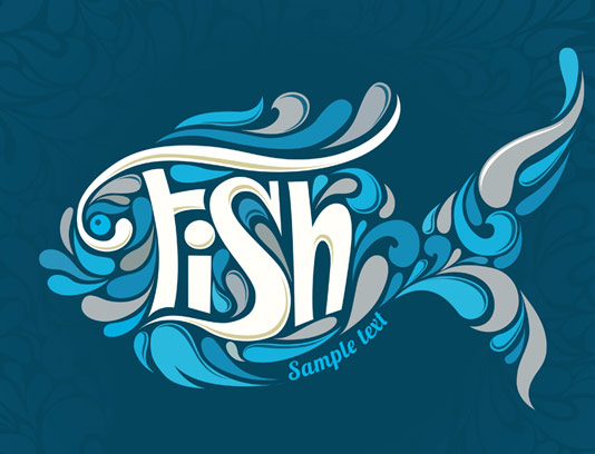 وکتور لوگوی ماهی انتزاعی