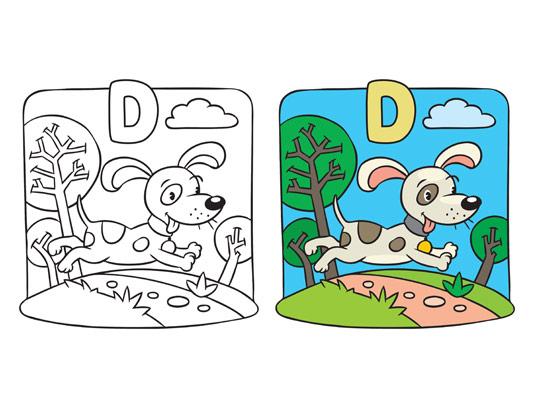 وکتور آموزش رنگ آمیزی کودک حرف D