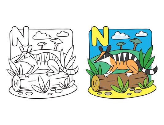 وکتور آموزش رنگ آمیزی کودک حرف N