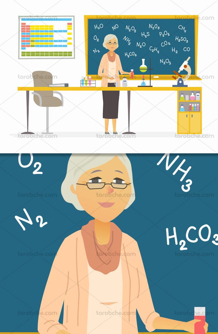وکتور آموزش شیمی با کیفیت