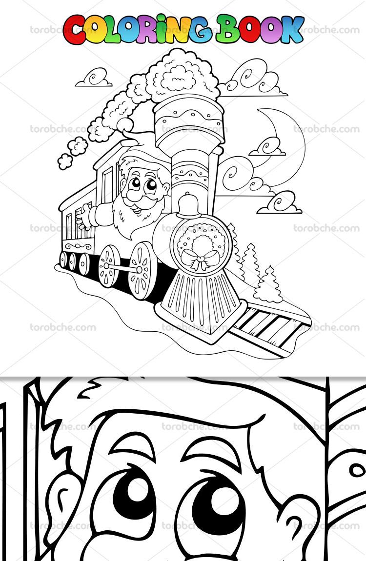 وکتور رنگ آمیزی کودک قطار
