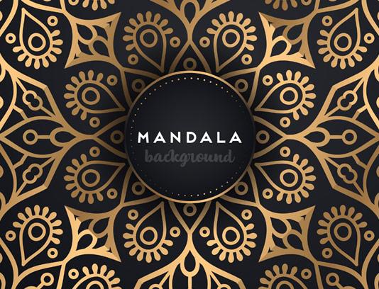 طرح پس زمینه ماندالا طلایی