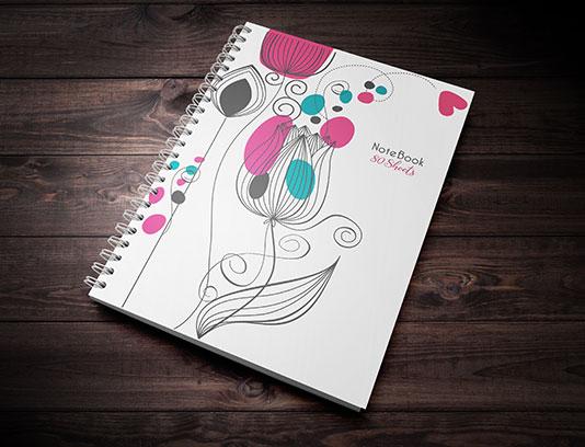 جلد دفتر طرح گل و بته مینیمال