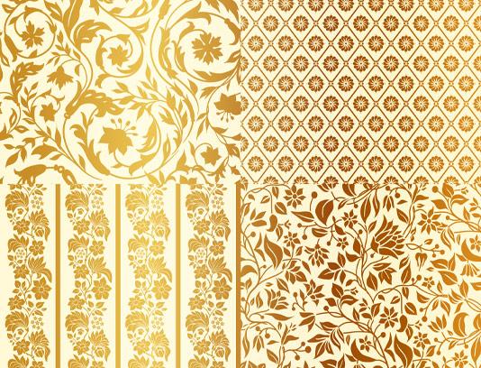 وکتور بکگراندهای گل و بته طلایی رنگ