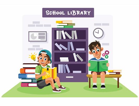 طرح گرافیکی کتابخانه مدرسه