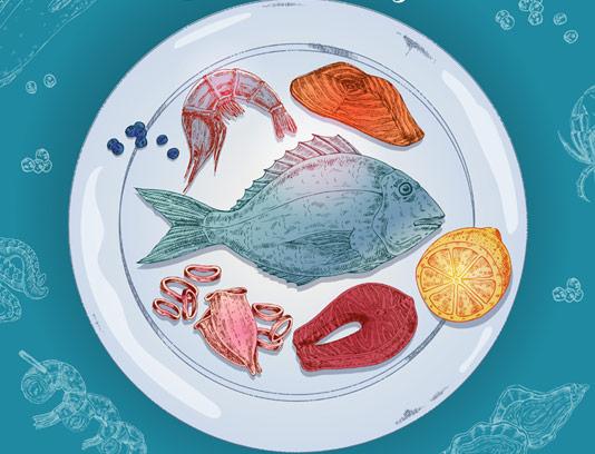 بشقاب غذای دریایی بصورت وکتور