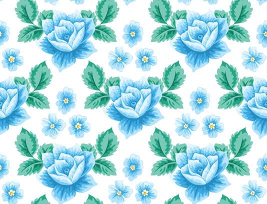 وکتور پترن گل های رز آبی