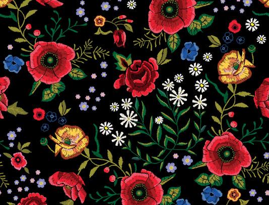 وکتور پترن گل های شقایق قرمز