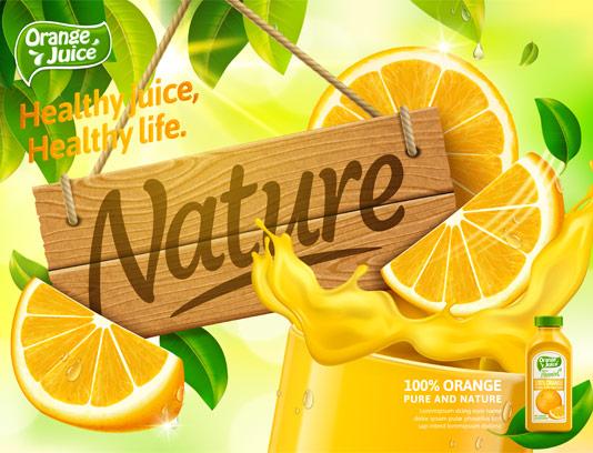 وکتور آبمیوه لیمویی تازه