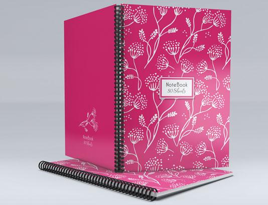 جلد دفتر صورتی گلدار