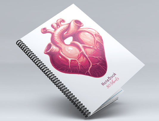 جلد دفتر طرح قلب