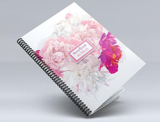 جلد دفتر با گل صورتی و سفید